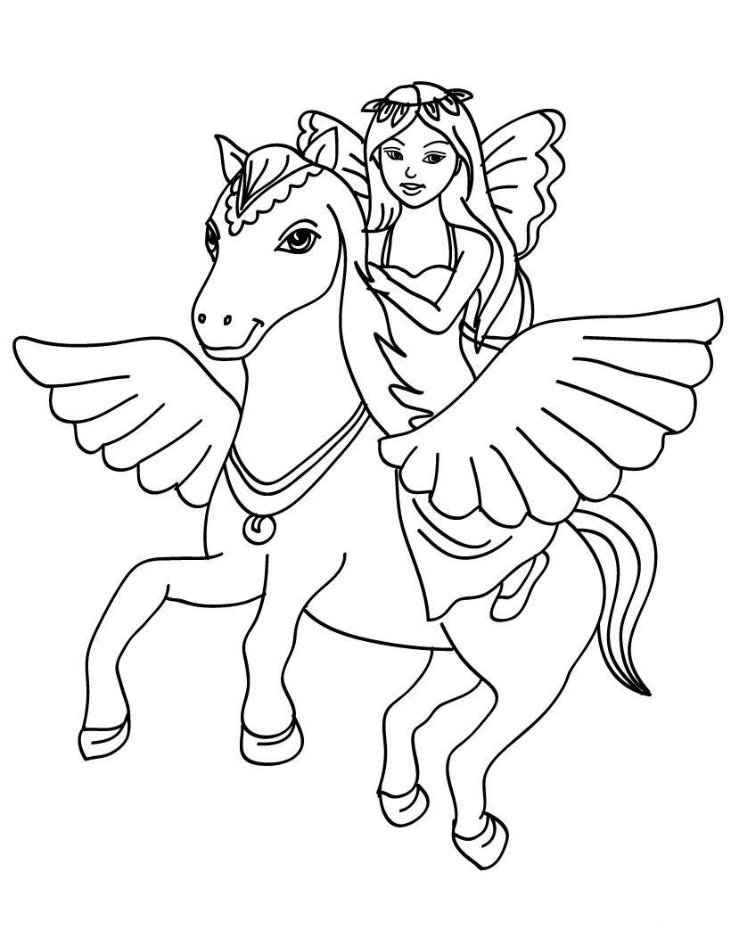 coloriage cheval et princesse à imprimer