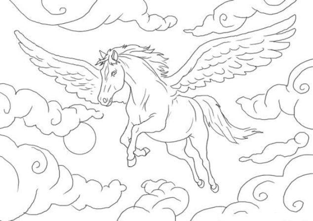 Coloriage cheval pegase - Dessin a colorier cheval ...