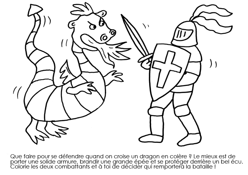 18 dessins de coloriage chevalier dragon imprimer - Chevalier dessin ...