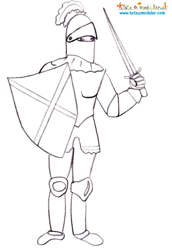 coloriage à dessiner chevalier tete a modeler