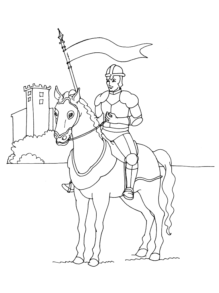 Coloriage chevalier simple - Chevalier dessin ...