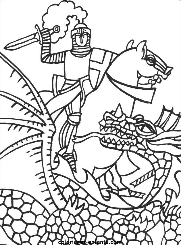 chevalier dessin à colorier ligne