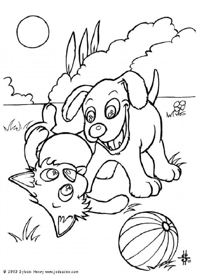 19 dessins de coloriage Chien Et Chat à imprimer