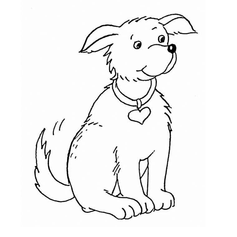 coloriage chien niche