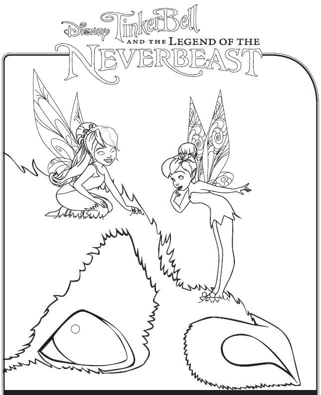 coloriage à dessiner la fée clochette et la créature légendaire