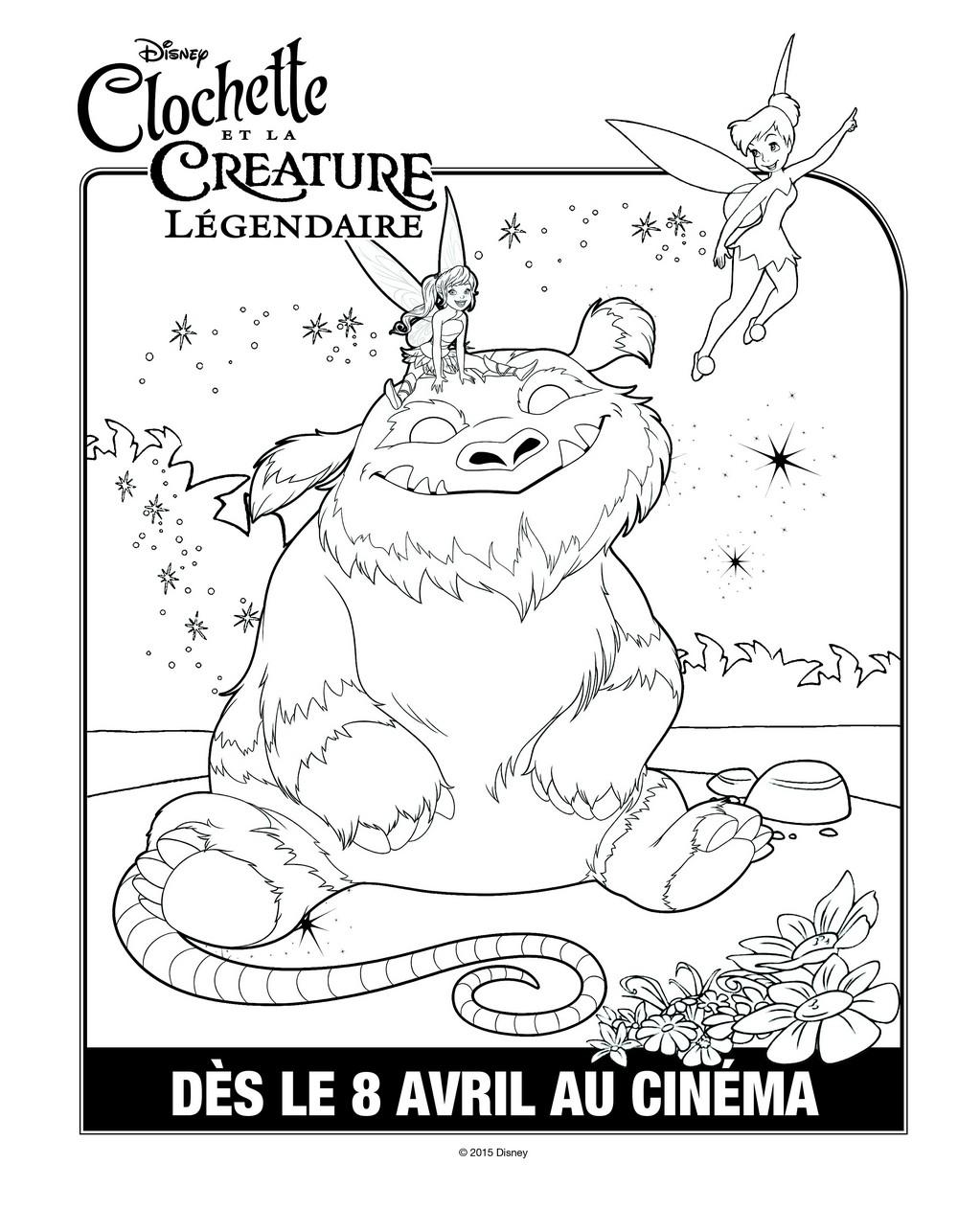 dessin à colorier fée clochette et la créature légendaire