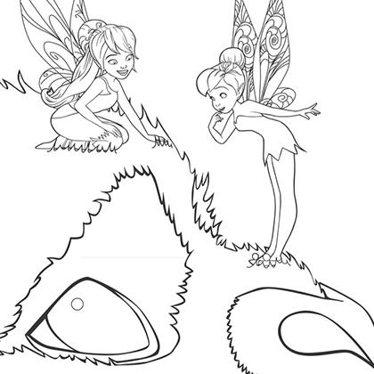 coloriage la fée clochette et la créature légendaire