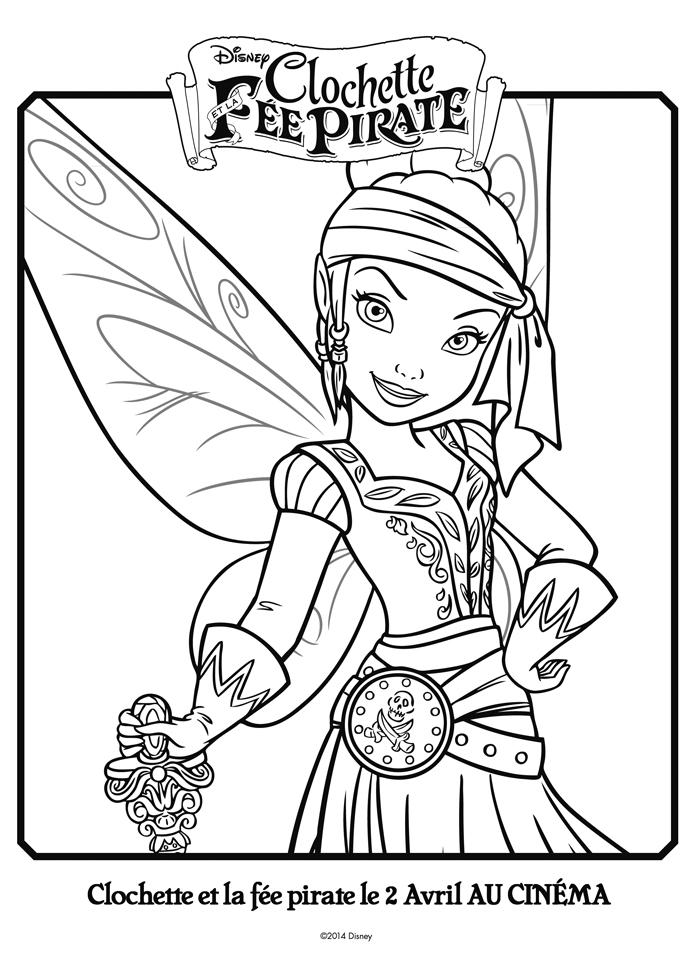 dessin à colorier en ligne clochette et la fée pirate