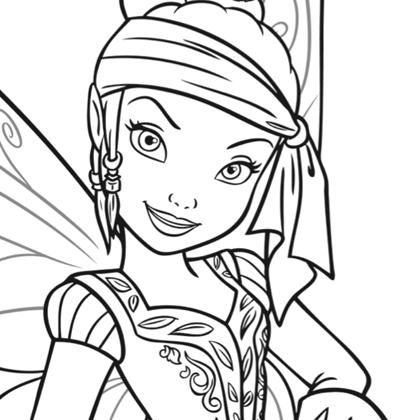 coloriage à dessiner à imprimer clochette et la fée pirate