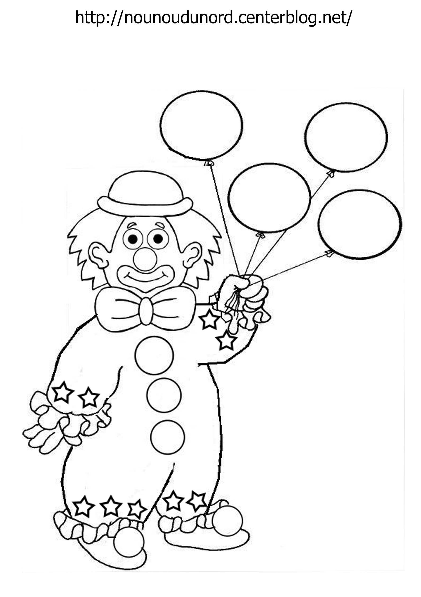 dessin clown blanc coloriage clown avec ballons