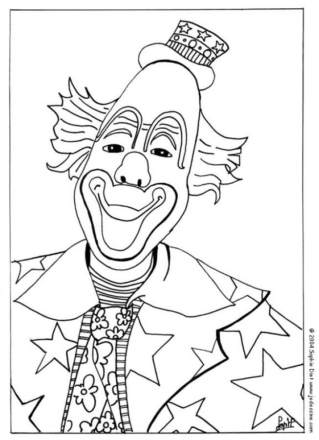 coloriage à dessiner de clown à imprimer