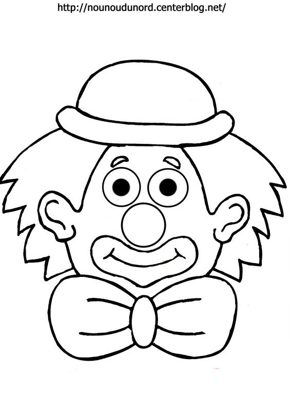 coloriage à dessiner clown blanc