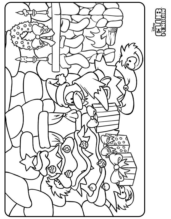 dessin à colorier club penguin a imprimer
