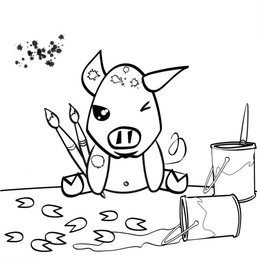 Pin girage coloriage on pinterest - Dessin cochon ...