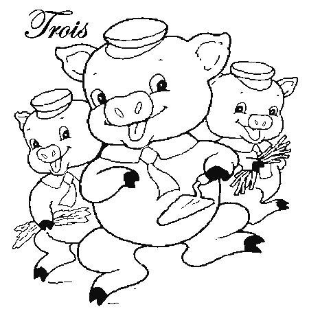20 dessins de coloriage cochon en ligne imprimer - Coloriage les trois petit cochons ...