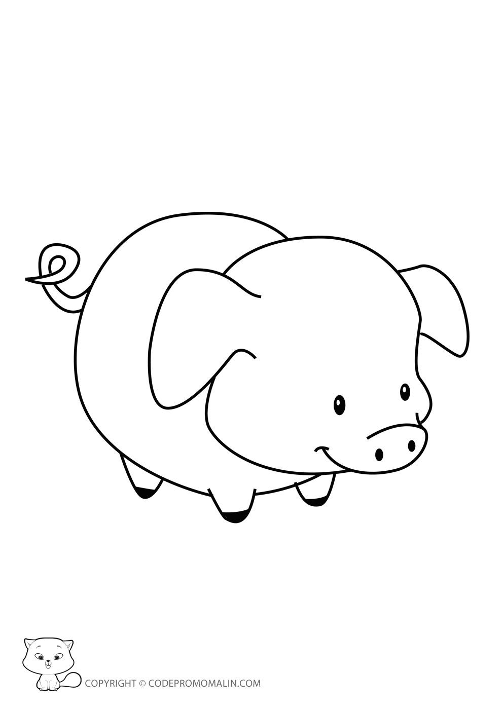 Dessin a imprimer petit cochon - Dessin cochon mignon ...
