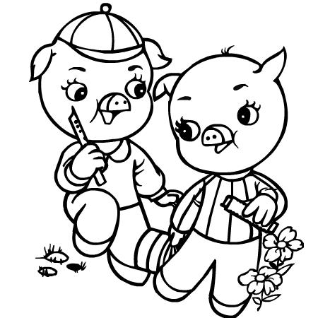 Dessin colorier petit cochon - Dessin anime les 3 petit cochons ...