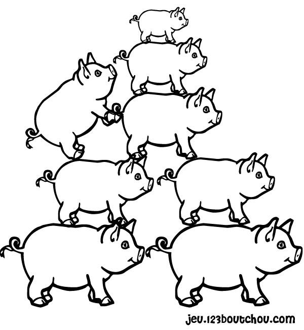 Coloriage cochon debout - Dessin cochon debout ...