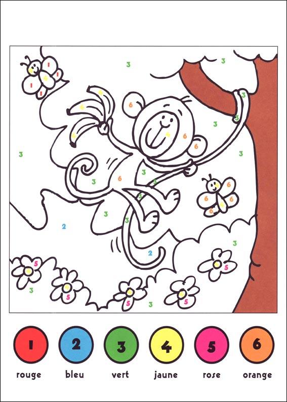 coloriage à dessiner codé de 1 à 5
