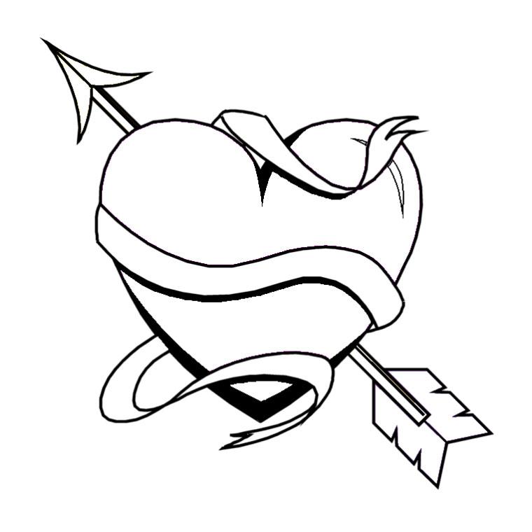 dessin à colorier coeur avec fleche