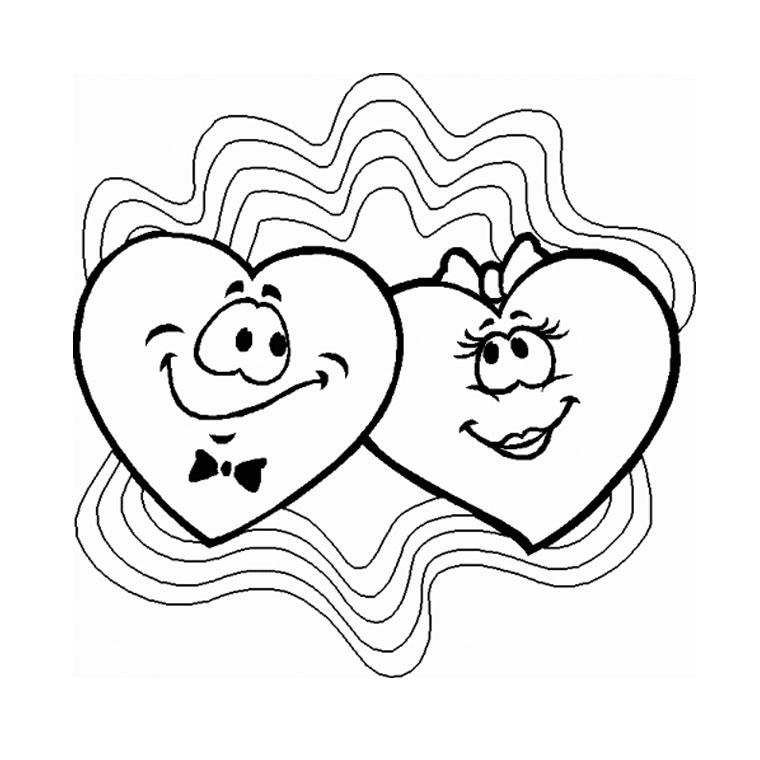 dessin à colorier chat avec un coeur