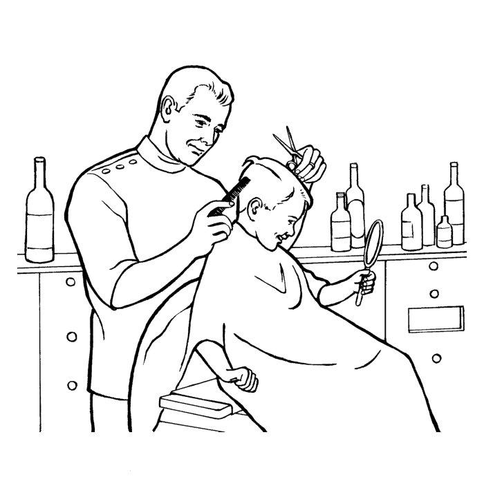 dessin à colorier coiffeuse