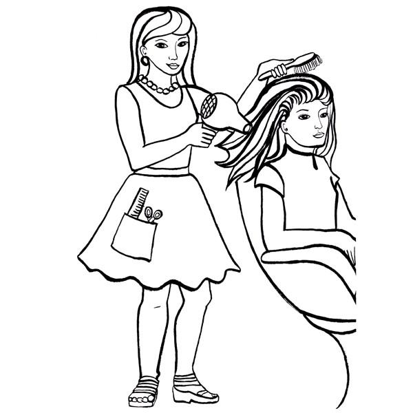 dessin à colorier barbie coiffeuse
