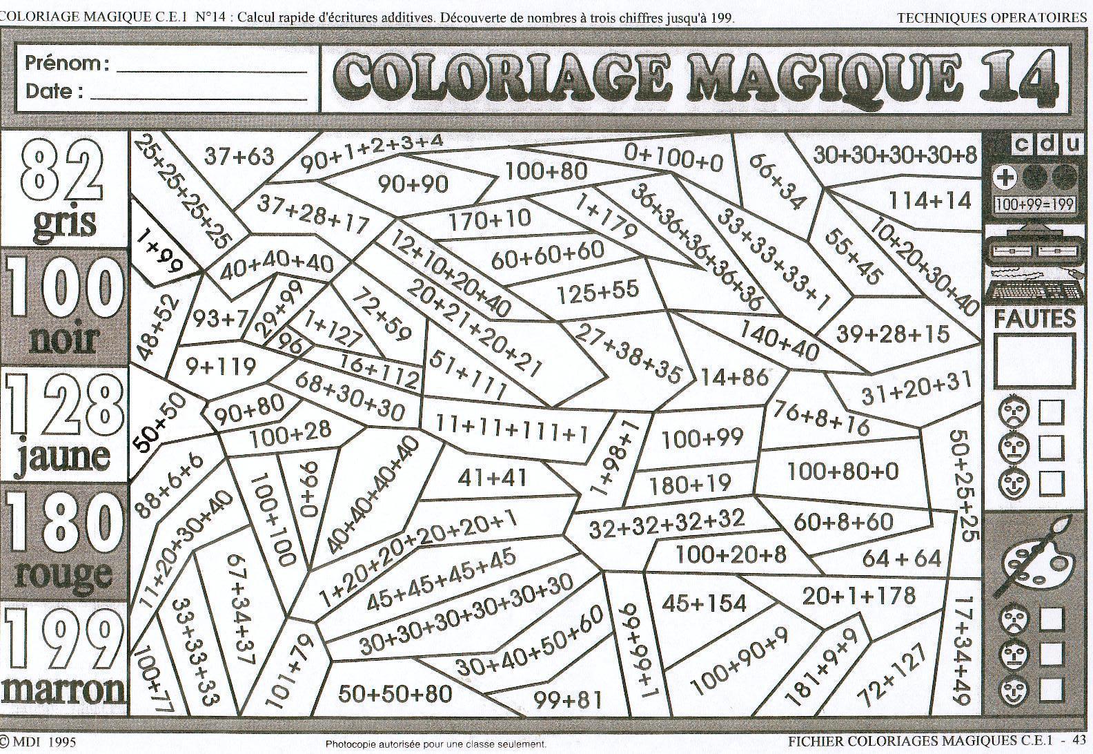dessin à colorier magique ce1 calcul mental