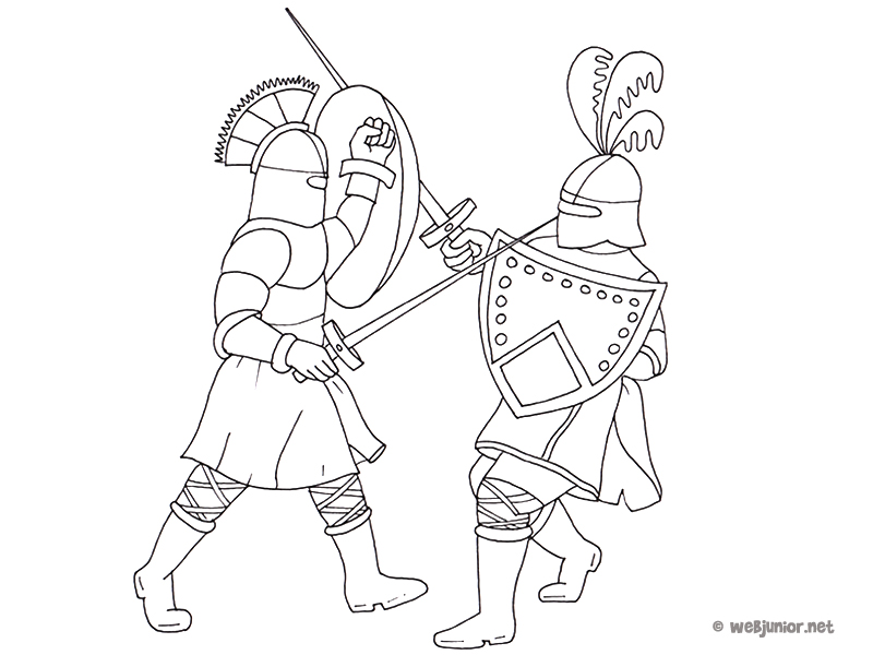 Coloriage Combat De Chevalier