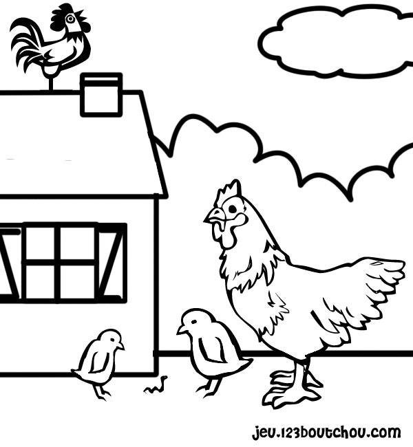 dessin à colorier coq qui chante