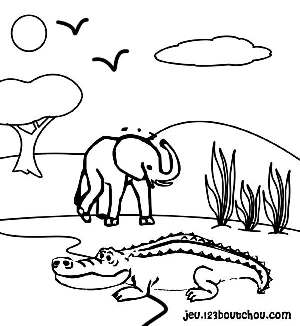 coloriage à dessiner crocodile tic tac