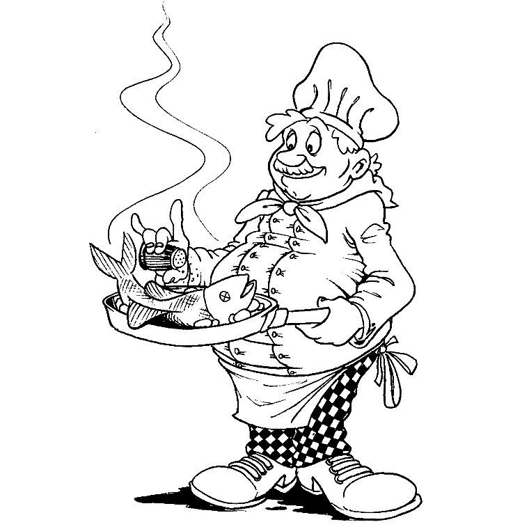 coloriage à dessiner schtroumpf cuisinier