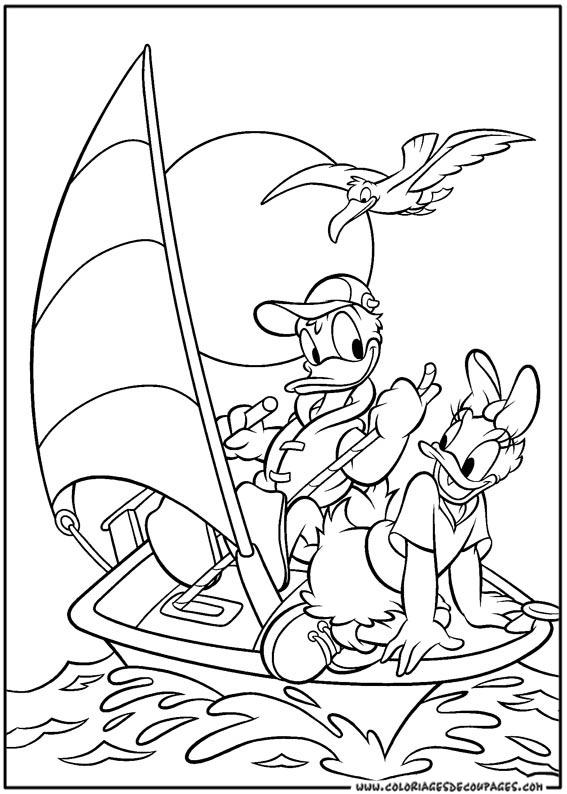 dessin à colorier donald daisy