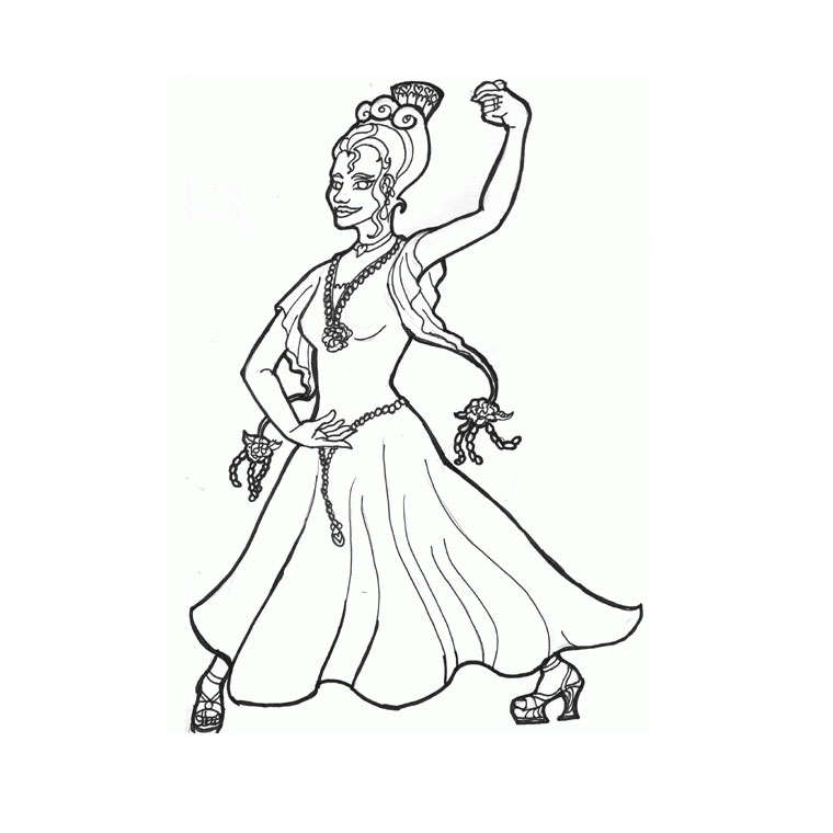 Coloriage Danseuse Flamenco A Imprimer.Coloriages Danses Monde