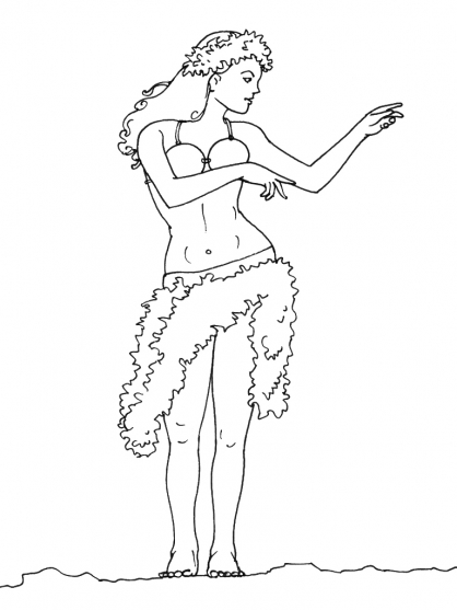 Coloriage dessiner danse zumba - Coloriage hawaienne ...