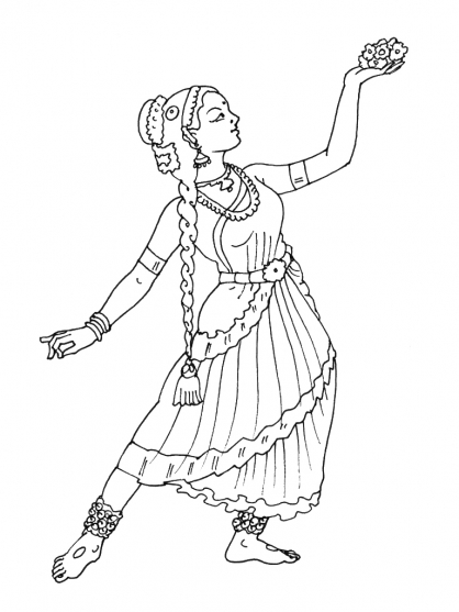 coloriage à dessiner danseuse de flamenco