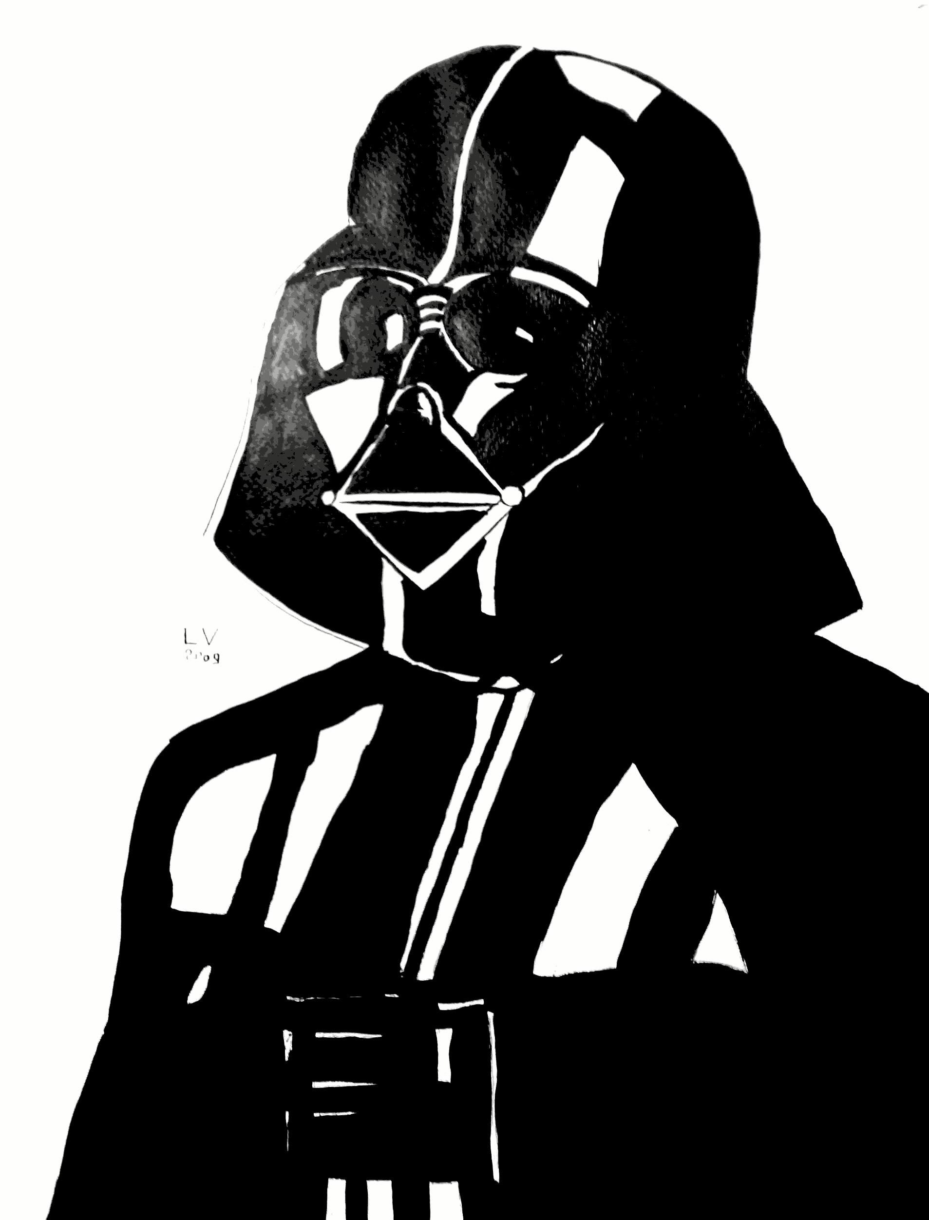 coloriage dark vador masque