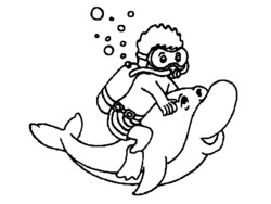 20 dessins de coloriage dauphin en ligne gratuit imprimer - Plongeur dessin ...