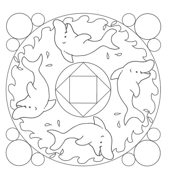 15 dessins de coloriage dauphin mandala imprimer - Mandala dinosaure ...