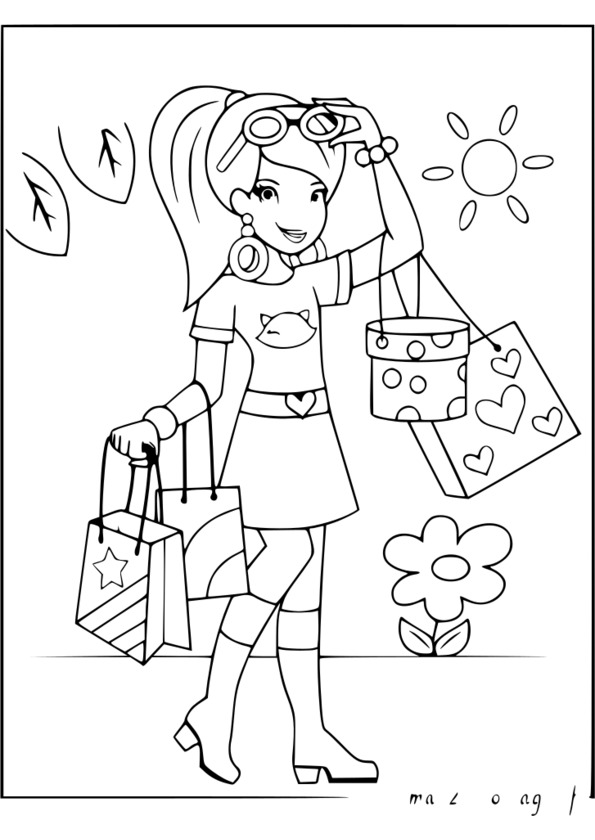 coloriage de fille sur hugolescargot