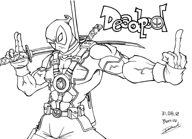 Coloriage de deadpool - Dessin deadpool ...