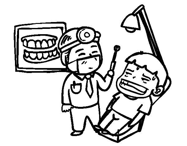 coloriage chez le dentiste