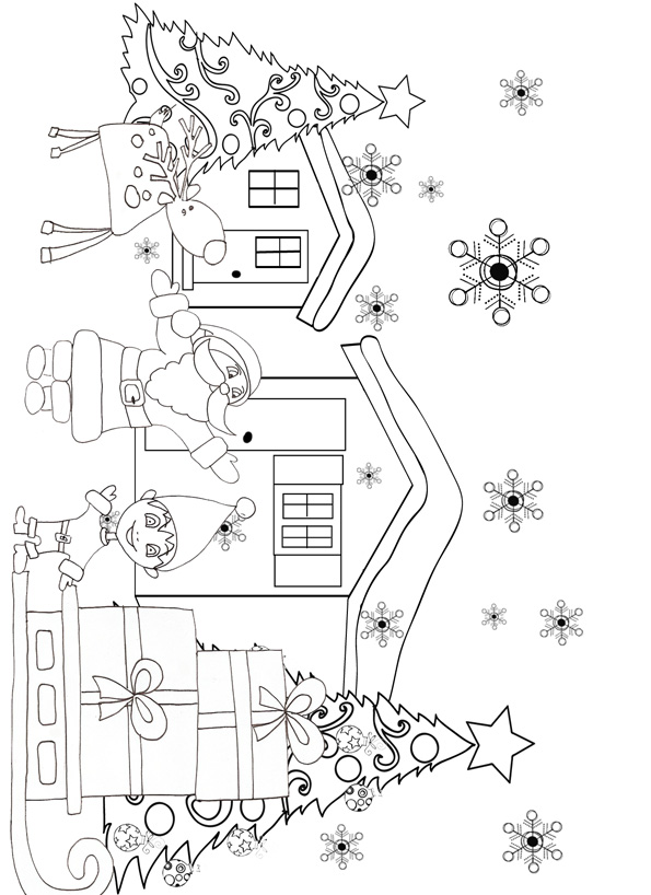 15 dessins de coloriage des lutins du p re no l imprimer - Coloriage village de noel ...
