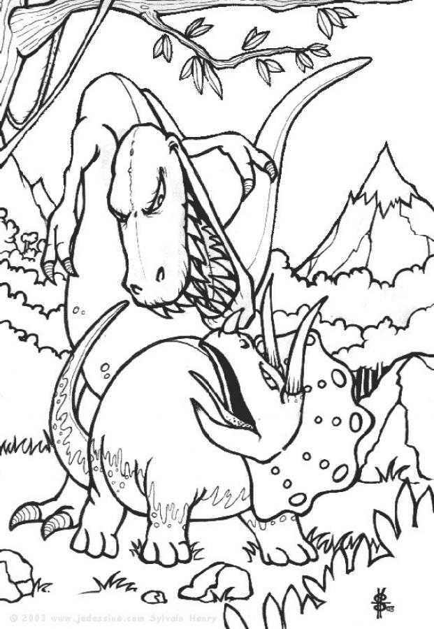 Coloriage dessiner dinosaure feroce - Dessiner dinosaure ...