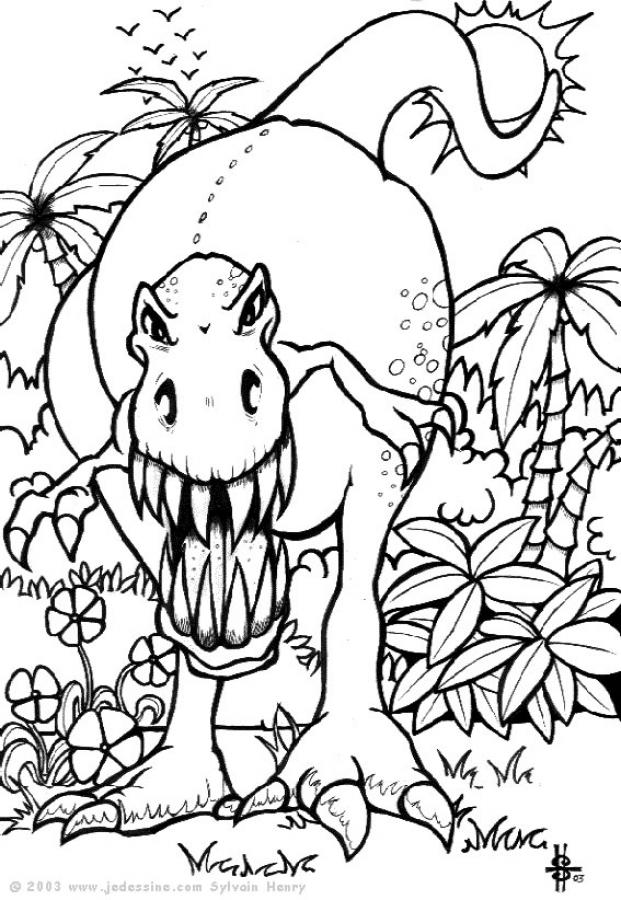 coloriage dinosaure grand format