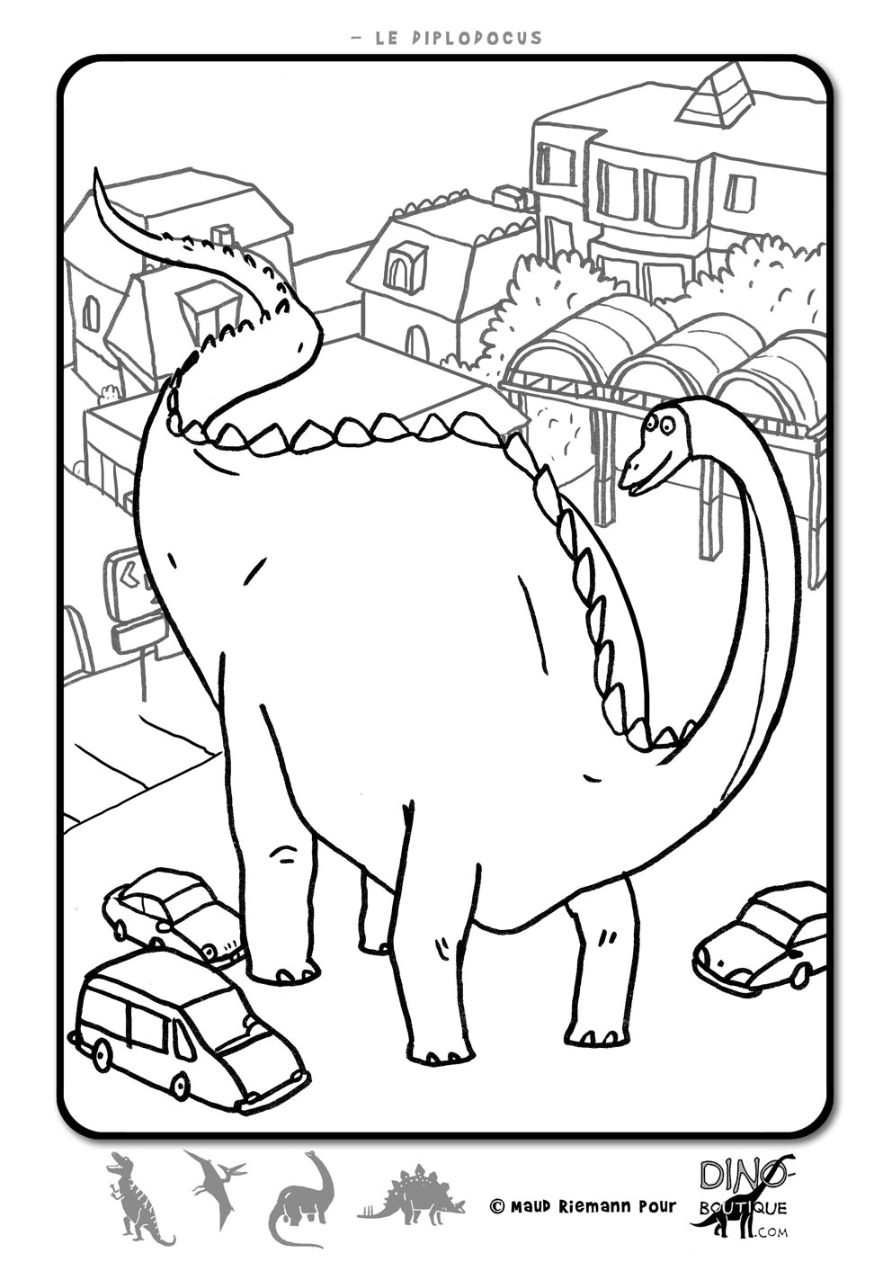 hugo l'escargot coloriage à dessiner dinosaure