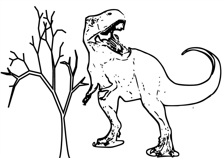 dessin en ligne dinosaure effrayant
