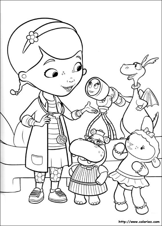coloriage à dessiner dessin animé docteur la peluche