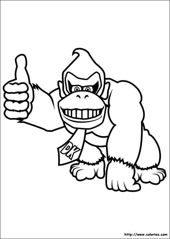 dessin à colorier gratuit donkey kong