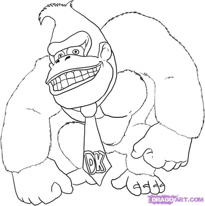 dessin à colorier donkey kong a imprimer gratuit